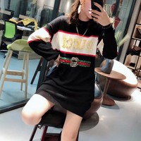 """Gucci"" Women Casual Fashion Multicolor Sequin Letter Long Sleeve Sweater Dress"
