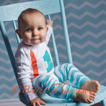 BOYS FIRST BIRTHDAY Bodysuit with Aqua Chevron Crawlers-Aqua and Orange Birthday Set-Birthday Bodysuit with 1 and Suspenders