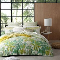 Lorne Green Quilt Cover Set or European Pillowcases by Platinum Collection