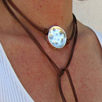 Leather Wrap Choker Necklace, Round Disc Pendant, Boho Style Jewelry