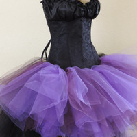 Adult tutu dress,maleficent dress, steampuck tutu dress, high low tutu dress, black corset, goth gothic tutu dress,purple and black