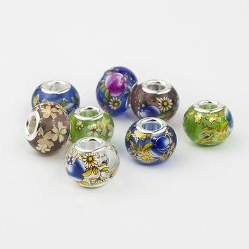 Charms For Bracelets 10Pcs/Lot Mix Color Japan Hand Colorful Drawing Painted Glas for