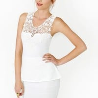 Crochet Peplum Dress - Ivory