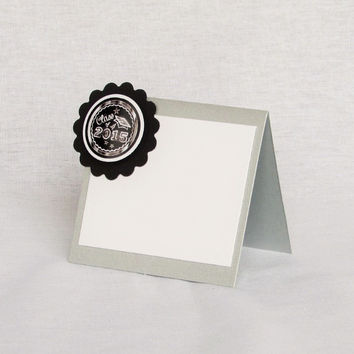 6 Silver Chalkboard Graduation Place Cards
