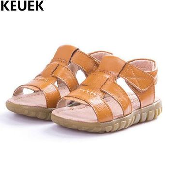 NEW Summer Child Sandals Genuine Leather Kids Shoes Boys Sandals Girls Beach Shoes Baby Toddler Flat Student Sandals 033
