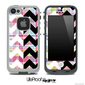 Color Plaid & Black/White Chevron Pattern Skin for the iPhone 5 or 4/4s LifeProof Case