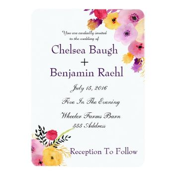Chic Purple, Pink Watercolor Flowers Wedding Card