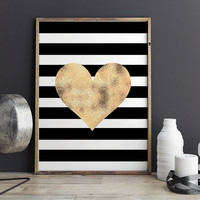 PRINTABLE Art,GOLD HEART,Digital Print,Gold Foil,Heart Print,Love Sign,Black And Gold,Gold Foil,Office Decor,Home Decor,Fashion Print