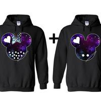 Galaxy design.Mickey Minnie Disney COUPLE Hoodies Inspired.Mr and Mrs.Valentine,Boy Friend Girl Friend.Available as couples sweater tshirt