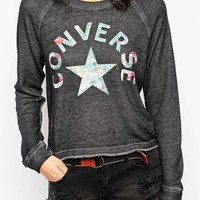 Converse Washed Cropped Sweatshirt With Multicolour Print Co-ord