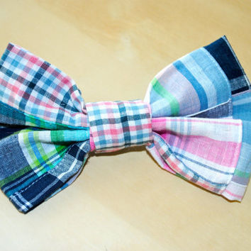 Pink and Blue Plaid Patchwork Hair Bow