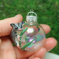 Sugar Glider Christmas ornament mini glass ball Polymer clay