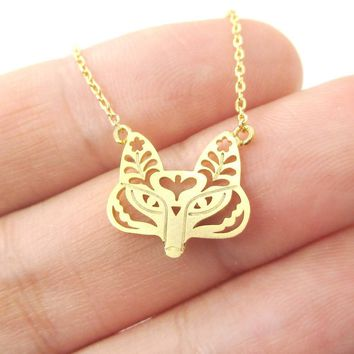 Fox Face Shaped Tribal Floral Cut Out Charm Necklace in Gold | Animal Jewelry