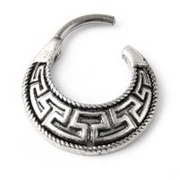 Maze Tribal Fan Round Surgical Steel Septum Clicker Pierced Nose Ring