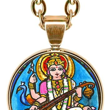"Goddess Saraswati for Knowledge, Music, Arts, Wisdom 5/8"" Mini Stainless Steel Pendant with Chain"