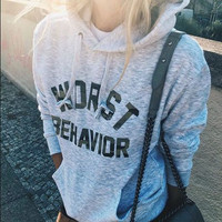 """ Worst Behavior "" Women's Autumn Fashion Long Sleeve Hooded Hoodies Draw Cord Pure Color Pocket Sport Coat Sweater Shirts _ 9252"