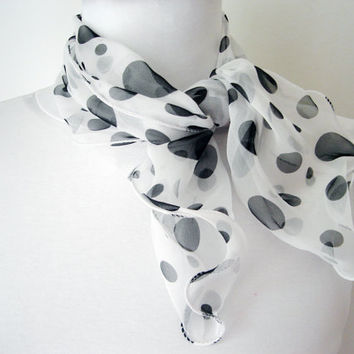 Polka dot scarf, White scarf with black dots, Little shawl, Silk wrap, Head scarf, Silky scarfs, Summer accessories, Vintage scarf, Mom gift