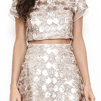 Electric Youth Sequin Short Sleeve Crop Two Piece Mini Dress - 2 Colors Available
