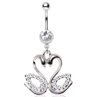 316L Surgical Steel Gemmed Swan Couple Dangle Navel Ring