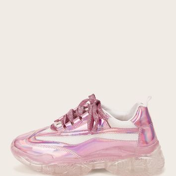Iridescent Lace-up Front Trainers