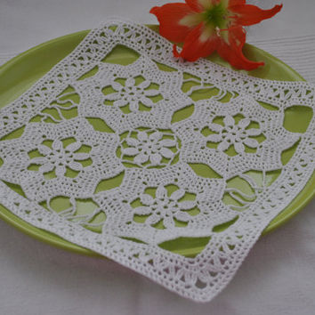 Crochet doily Square doilies White cotton lace doily Modern table  decor,Cozy home decor crocheted