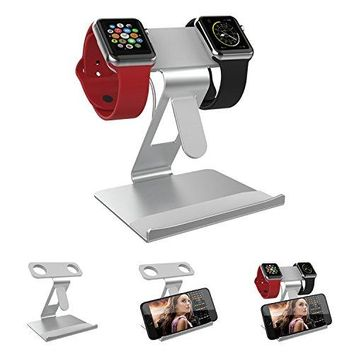 ATOPHK 2 in 1 Apple iWatch Dual Head Charging Stand and Desktop Cell Phone Stand Tablet Holder Aluminum Bracket Charging Dock Station For iPhone 7 7plus 6S 6plus 5 5s, iWatch(38mm 42mm) 003-Silvery