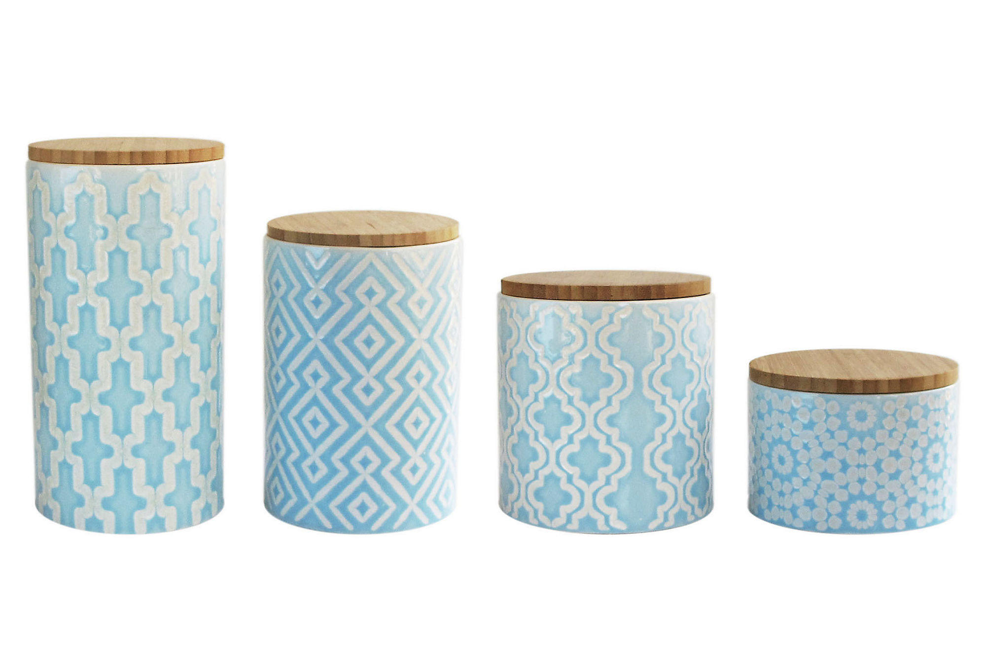 4 pc arabesque blue canister set kitchen from one kings lane