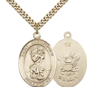 14K Gold Filled St Christopher Navy Military Soldier Catholic Medal Necklace 617759772302