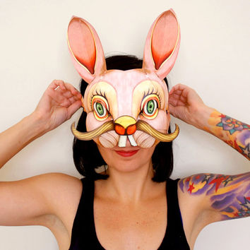 Bunny Mask - Pop Up Paper Party Accessory or Unique Decor