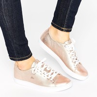 Lacoste Showcourt Lace 2 Rose Gold Leather Sneakers