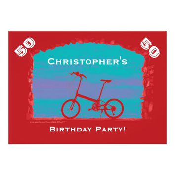 50th, 55th Birthday Celebration, Red Bicycle Card