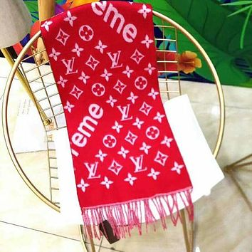 LV Louis Vuitton & Supreme Fashion New Monogram Letter Print Keep Warm Tassel Women Scarf Red