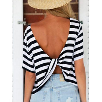 2016 Summer Short Sleeve Stripe T Shirt Women Clothing O Neck Casual Tees T-Shirts Cross Back Backless Women Tops KH853349