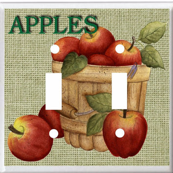 APPLES & BURLAP COUNTRY KITCHEN DECOR LIGHT SWITCH COVER PLATE OR OUTLET V893...