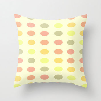 Polka Print Pillow Cover - decorative throw home decor artsy girly polyester fabric printed cute pastels pink green yellow peach beige cream