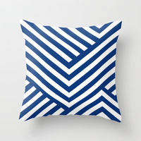 Blue and White Stripes Throw Pillow by Liv B
