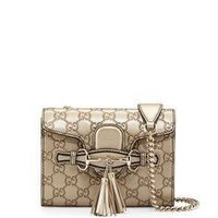 Gucci Emily Guccissima Mini Shoulder Bag Golden Beige Metallic Leather Bag Handbag New
