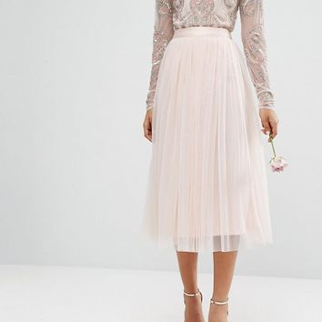 Maya Tall Satin Waist Midi Full Tulle Skirt With Bow Back Detail Co-Ord at asos.com