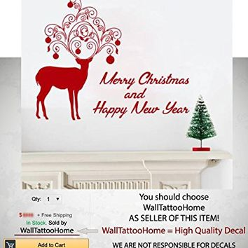 "Merry Christmas Wall Decals Sticker Deer Vinyl Decoration Nursery Kids Room Decal Bedroom Living Home Decor MS772 (17"" x 23"")"