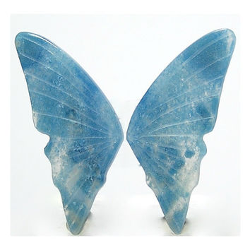 Blue Quartz Extremely rare Blue Aerinite in Quartz Matched Carved Stone Butterfly Wing Cabochons from Brazil Unset Loose Jewel