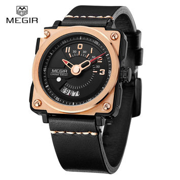2017 New Megir Unique Design Square Dial Watches Mens Leather Business Sport Watch Date Famous Brand Limited Edition Mens Watch