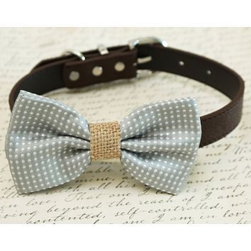 Gray Dog Bow tie attached to collar, Country Rustic wedding, dog lovers