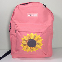 Everest Backpack in Coral with Hand Painted Sunflower