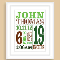 Printable DIY Newborn Baby BOY Birth Stats 8x10 Wall Art Print Nursery Gift - PDF File