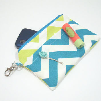 Lime and Turquoise Chevron Phone Clutch Purse, Zipper Bag, Custom Colors