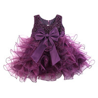 2015 Girls Dresses Sequins Occasion Party Wedding Bubble Bow Layered Tulle Formal Dress