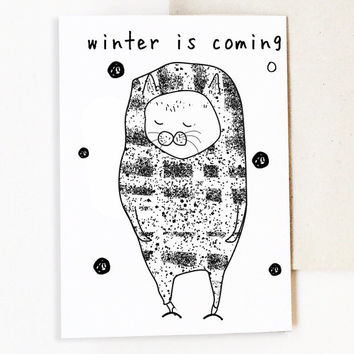 Winter Card - Anniversary Cards - Friendship Card - Love Cat - Paper - Greeting Cards - Card for Cat Lover