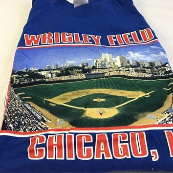 Brand New Retro Men's Wrigley Field Chicago Cubs Stadium Tee Shirt Blue