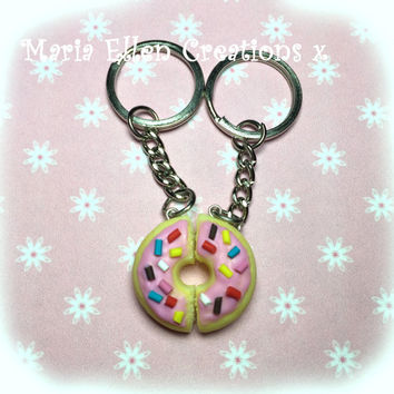 Doughnut / donut bff keyrings set - food keyring - fake food - best friend keychains - miniature food - donut charm - The Simpsons Donut