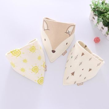 Cotton fox Bandana Bibs Baby Babador Feeding Smock Infant Burp Cloths Cartoon Saliva Towel Baby Eating Accessory Soft Baby Stuff